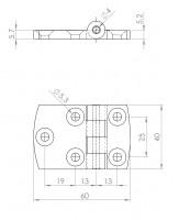 Kunststoff-Design-Scharnier | L. 1905