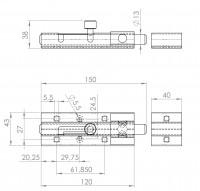 Türknopfriegel für Vorhängeschloss | L. 2251