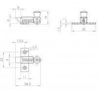 Oberlichtschnäpper mit Rückstellfeder | L. 16008