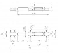 Türknopfriegel für Vorhängeschloss   L. 2252